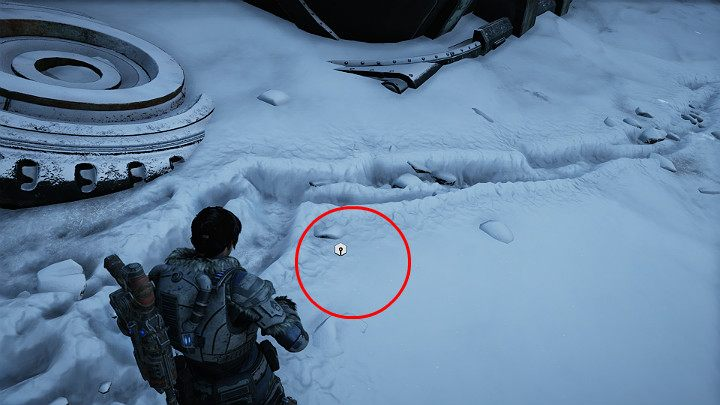 A component lies near the large silo located in front of the mine - you cant see it, the item is buried in the snow - Act 2 Chapter 4 - The Source of It All | Gears 5 Walkthrough - Act II - Gears 5 Guide