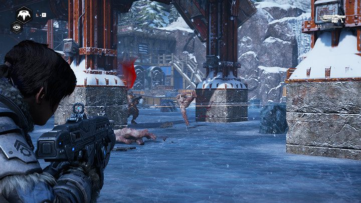 On the ice, you will face a few fortified enemies - Act 2 Chapter 4 - The Source of It All | Gears 5 Walkthrough - Act II - Gears 5 Guide