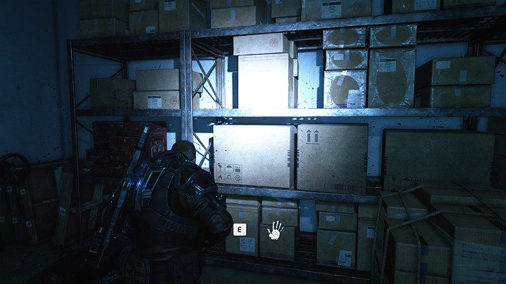 Approach the stillage with carton boxes - Act 1 Chapter 4 - The Tides Turn | Gears 5 Walkthrough - Act I - Gears 5 Guide
