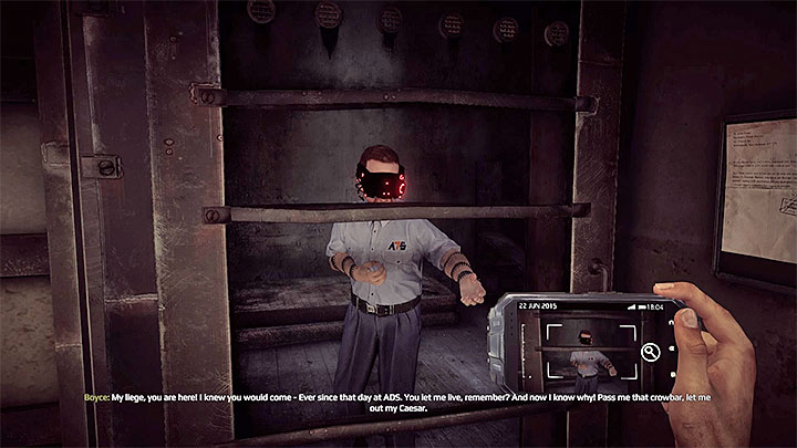 Boyce can be found inside of one of the cells - Exploration of building C | Black | Walkthrough - Black - Get Even Game Guide