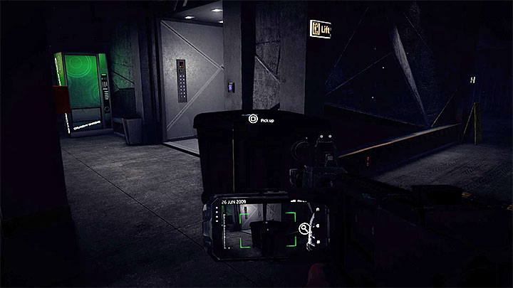 Areas near the elevator on the left - before you get closer to it you can scan an anomaly and get additional cover - Stealing the prototype and destroying the data | Black | Walkthrough - Black - Get Even Game Guide