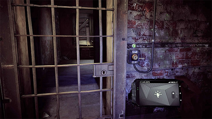 During your exploration of the building B you will reach the metal gate presented in the picture above - How to solve the fuses puzzle in the Asylums block B? - Solving the puzzles - Get Even Game Guide