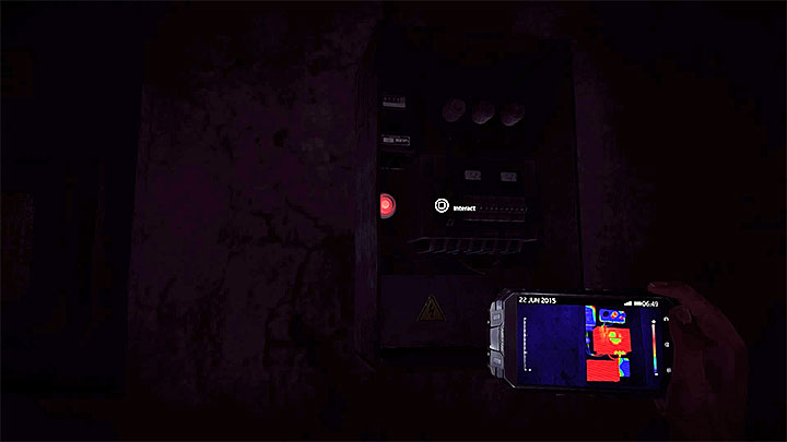 When you enter the room with the fuse boxes you should keep using thermal vision - How to solve the fuses puzzle in the Asylums block B? - Solving the puzzles - Get Even Game Guide