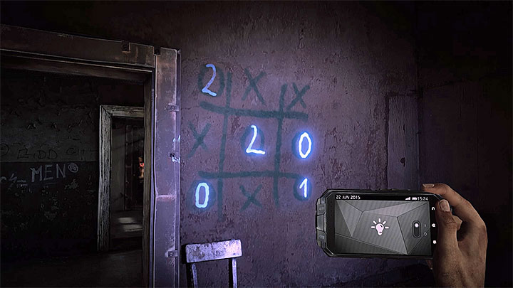Add the winning numbers of tic-tac-toe - How to deal with the electronic door in the asylum (Black)? - Solving the puzzles - Get Even Game Guide