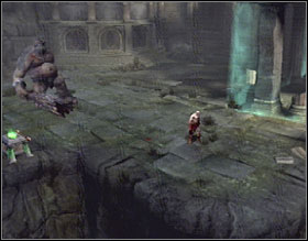After defeating all the enemies, approach the door at the back of the screen and pull out a movable brick from it, then open the gate - The Ruins of the Forgotten - Walkthrough - God of War 2 - Game Guide and Walkthrough