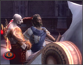 When the situation is under control, grab the translator and force him to read the spell by tapping O - Auditorium of Lahkesis - Walkthrough - God of War 2 - Game Guide and Walkthrough