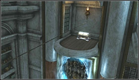 Leave the rope as it is, use the teleport on the right (the blue one) which will move you to a platform (with an experience chest on it), partly surrounded by bars - Walkthrough - Daedalus Workshop - Walkthrough - God of War 3 - Game Guide and Walkthrough