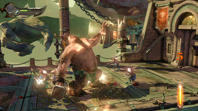 Fight ends when the Cyclops kneels and is marked with a white arc - Fight with the Cyclope - Chapter 3: The Guard House - God of War: Ascension - Game Guide and Walkthrough