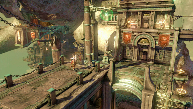 When the area is cleared, pull the lever (up to the end) until the hook appears - Fight with the Cyclope - Chapter 3: The Guard House - God of War: Ascension - Game Guide and Walkthrough