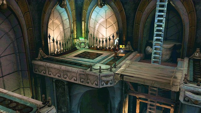 On left from ladder you find a Note from Castor the Prophet and a green chest - Soul of Hades - Chapter 11: Delphi Catacombs - God of War: Ascension - Game Guide and Walkthrough
