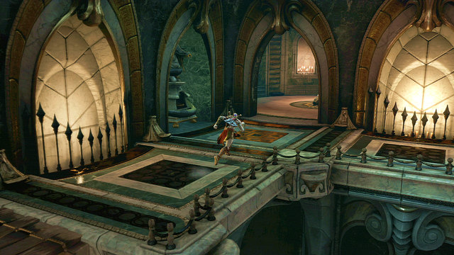 Going right, youll pass a broken fountain with the green gas and go through open door to a round chamber - an elevator - Soul of Hades - Chapter 11: Delphi Catacombs - God of War: Ascension - Game Guide and Walkthrough