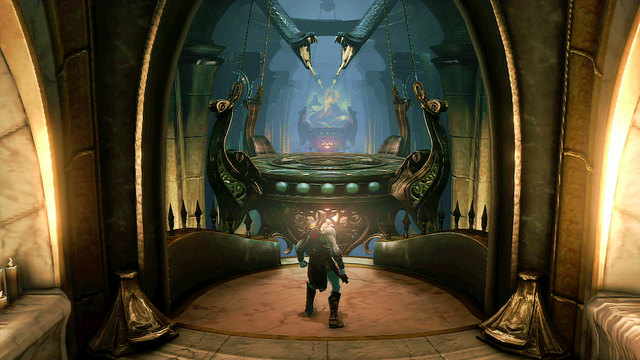 Moving forward, you get onto a balcony and in front of a corridor with spikes in the floor and two chandeliers - Soul of Hades - Chapter 11: Delphi Catacombs - God of War: Ascension - Game Guide and Walkthrough