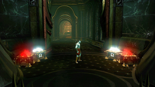 Then, make few steps back and open chests for red orbs, Gorgon Eye and Phoenix Feather - Soul of Hades - Chapter 11: Delphi Catacombs - God of War: Ascension - Game Guide and Walkthrough
