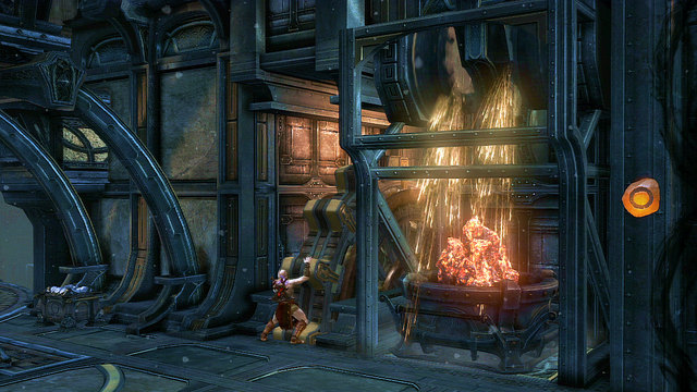 Go through the gate, grab a platform with coal and move it to the niche where the sparks were - Lighting the Furnace - Chapter 23: The Furnace - God of War: Ascension - Game Guide and Walkthrough