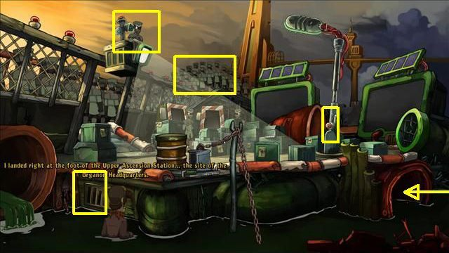 Examine the duct grilles - Get some light source | To rescue Goal and Deponia in Goodbye Deponia - To rescue Goal and Deponia - Goodbye Deponia Guide