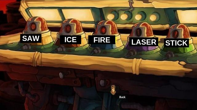 Pick up the Yin and place it in the recess - Find out where you are | Hell? in Goodbye Deponia - Hell? - Goodbye Deponia Guide
