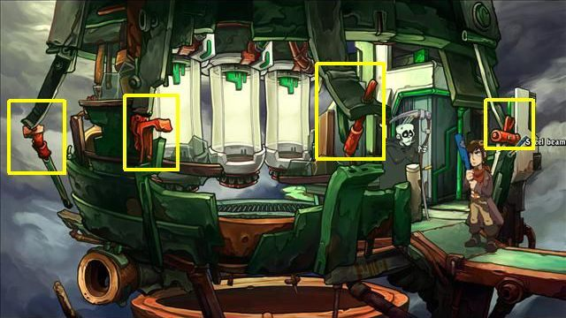 The path to the delivery van is blocked by a laser, so go right (the passage in the further part of the location) - Find out where you are | Hell? in Goodbye Deponia - Hell? - Goodbye Deponia Guide