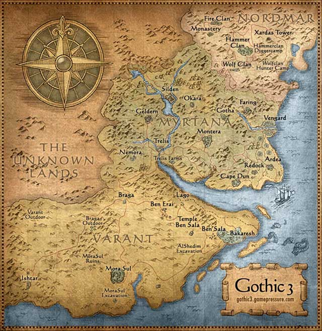 1 - Map of the World - Maps - Gothic 3 - Game Guide and Walkthrough