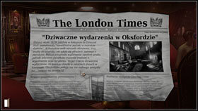 Only afterwards pick up the newspaper (5 points) lying between the chair on which the woman is sitting and the plant and read the interesting fragment - Chapter 8 - p. 1 - Walkthrough - Gray Matter - Game Guide and Walkthrough