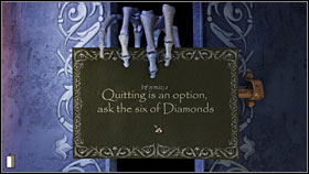 Take the third door on the right into the room of the Queen of Spades - Chapter 8 - p. 1 - Walkthrough - Gray Matter - Game Guide and Walkthrough