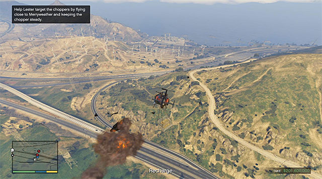 Avoid violent turns to allow Lester target the other choppers with ease - 83: The Big Score #2 - the Obvious variant - Main missions - Grand Theft Auto V Game Guide