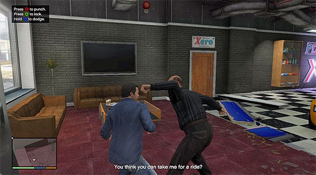 Performing dodges correctly will help you keep the health bar at the safe level - Melee fights - Fights - Grand Theft Auto V Game Guide