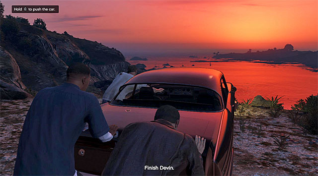 Push down the car with Devin inside - Ending C: The Third Way - Main missions - Grand Theft Auto V Game Guide