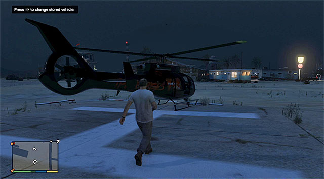 It is a way better idea to make it over to the base on a regular chopper and, to do that, you need to visit the airports seized by Trevor, located to the South-West of the Sandy Shores - 33: Cargobob - Main missions - Grand Theft Auto V Game Guide