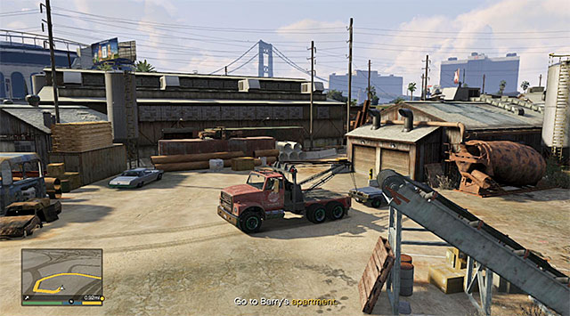 Park the towtruck right in front of the wreckage and lower the crane - Grass Roots - The Drag - Strangers and Freaks missions - Grand Theft Auto V Game Guide