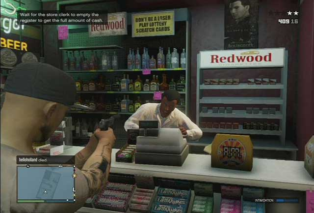 You need to keep a bead on the shop assistant, so he gave you all the money - Money - Basics - Grand Theft Auto V Game Guide