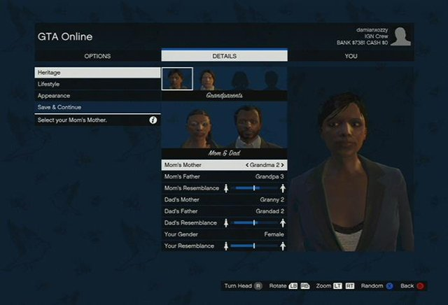 Choose the looks of your parents and grandparents - Character creation - Basics - Grand Theft Auto V Game Guide