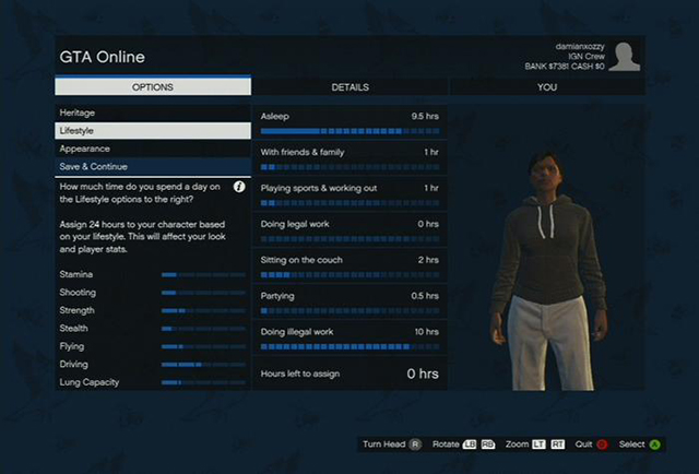 This is how you set the statistics - Character creation - Basics - Grand Theft Auto V Game Guide