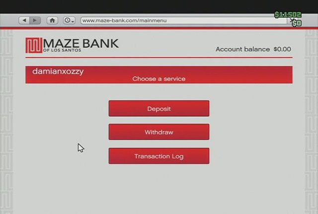 The website of the bank where you keep your money - Protecting your money against other players - Basics - Grand Theft Auto V Game Guide