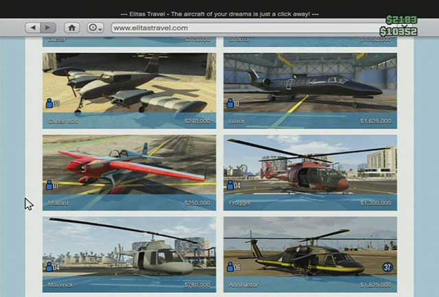 An aircraft store - Online shops - Basics - Grand Theft Auto V Game Guide