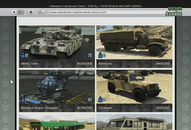 Armored vehicles - Online shops - Basics - Grand Theft Auto V Game Guide