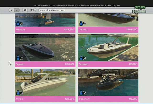 Boat store - Online shops - Basics - Grand Theft Auto V Game Guide