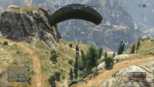 Release the parachute immediately - otherwise, you land too early and you will have to run towards the pontoon - Heist 5: Pacific Standard - Heists (DLC) - Grand Theft Auto V Game Guide