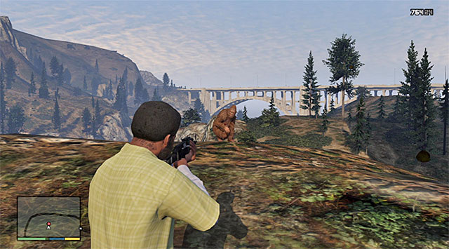 The chase ends either after you shoot the best on the head (which is not an easy task) or at the cliff shown in the above screenshot - The Last One - Strangers and Freaks missions - Grand Theft Auto V Game Guide