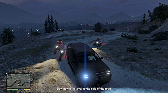 Keep slamming into the ATVs and the motorcycles, or conduct fire - Border patrol (1-3) - Random events - Grand Theft Auto V Game Guide
