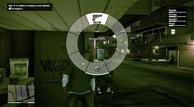 Weapon selection dial - 3: Repossession - Main missions - Grand Theft Auto V Game Guide