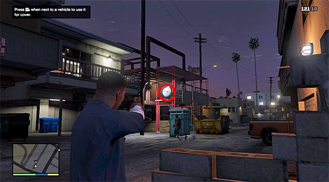 Quickly, position yourself next to the garages wall to prevent taking damage unnecessarily, as a result of staying out in the open - 3: Repossession - Main missions - Grand Theft Auto V Game Guide