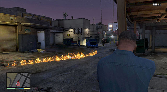 Shooting at the fuel trail will result in the explosion of the gangsters car - 3: Repossession - Main missions - Grand Theft Auto V Game Guide