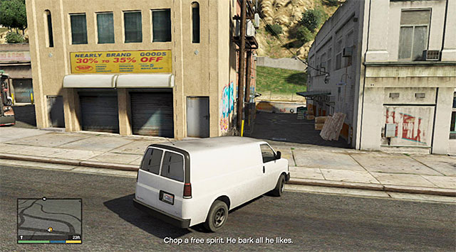 An alleyway to the place where you will find the wanted gangster - 4: Chop - Main missions - Grand Theft Auto V Game Guide