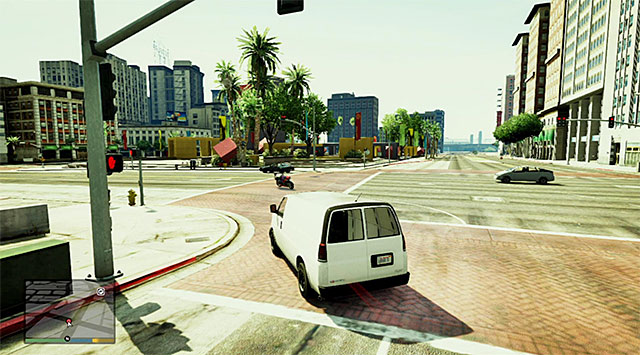 Once a new cutscene ends, return quickly to the van and start your chase behind the gangster escaping on a bike - 4: Chop - Main missions - Grand Theft Auto V Game Guide