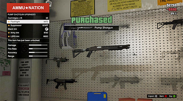 You need to buy a shotgun and a flashlight for it - 7: The Long Stretch - Main missions - Grand Theft Auto V Game Guide