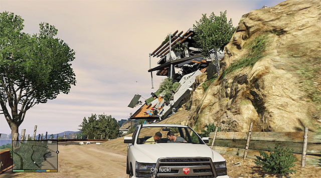 Press and keep holding down the acceleration button until one of the supports breaks loose, - 8: Marriage Counseling - Main missions - Grand Theft Auto V Game Guide