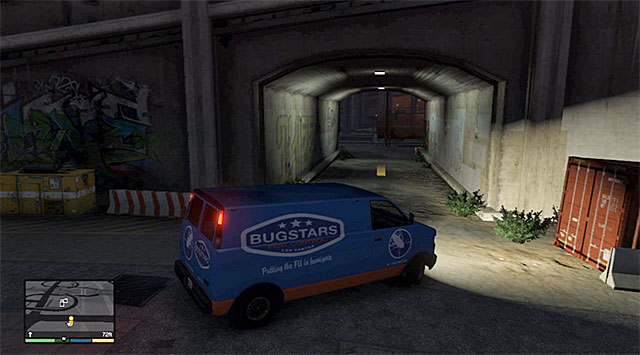 The location where you need to leave the van - 14: Bugstars Equipment - Main missions - Grand Theft Auto V Game Guide