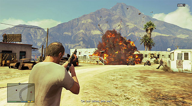 Shooting at the tank results in the explosion of the trailer - 17: Mr. Philips - Main missions - Grand Theft Auto V Game Guide