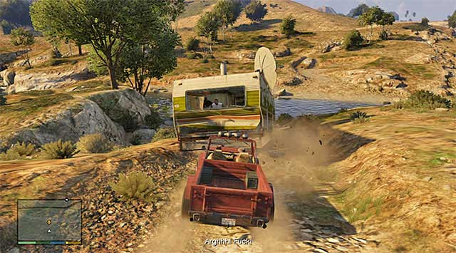 Keep pushing the trailer until it falls into the river bed - 17: Mr. Philips - Main missions - Grand Theft Auto V Game Guide