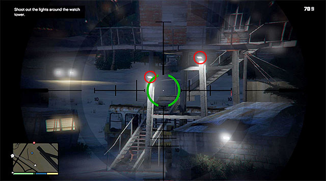 The next step is destroying the two lamps marked in the above screenshot, and you need to do that before the incoming car comes within short distance of the person you have just shot - 18: Nervous Ron - Main missions - Grand Theft Auto V Game Guide